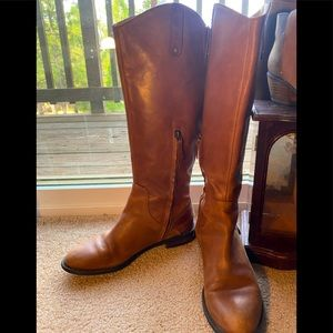 HALOGEN brown leather riding boots
